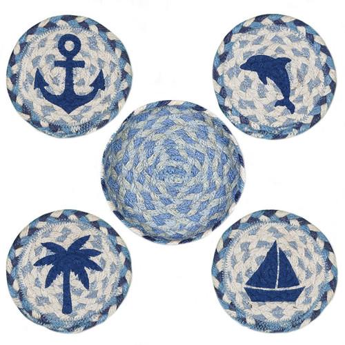 "Coastal Coasters by Earth Rugs - 5"" - CNB-525 - Blue"