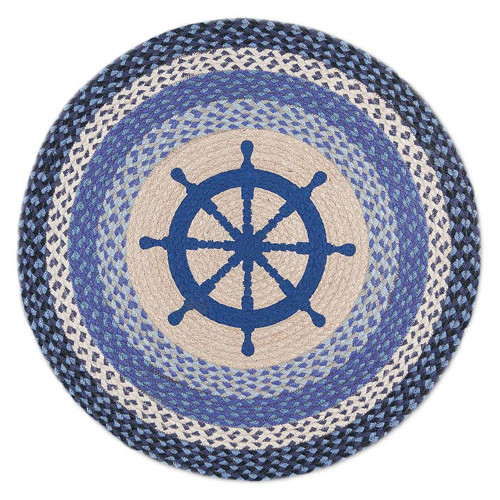 "Nautical Wheel Round Patch Rug 27""x27"" by Earth Rugs RP434 - Blue"