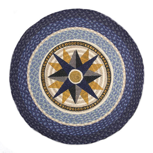 """Compass Round Patch Rug 27""""x27""""by Earth Rugs RP-350"""