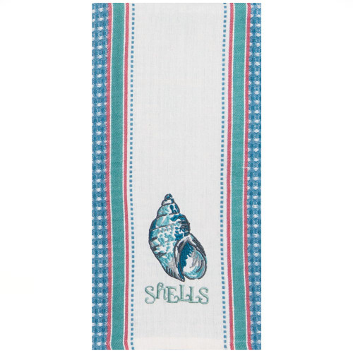 Inspirations Shells Embroidered Waffle Tea Towel R3277