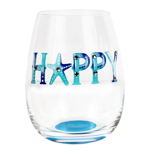 Happy Watercolor Words Stemless Wine Glass 20120H