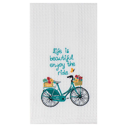 Blue Bike Butterfly Embroidered Waffle Towel F0770