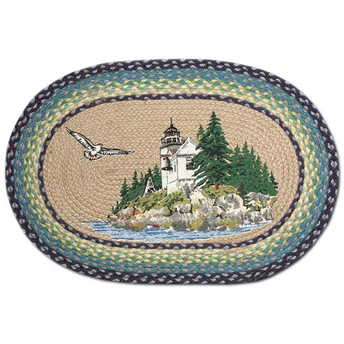"Lighthouse Bass Harbor Oval Patch Rug 20""x30""by Earth Rugs OP-311"
