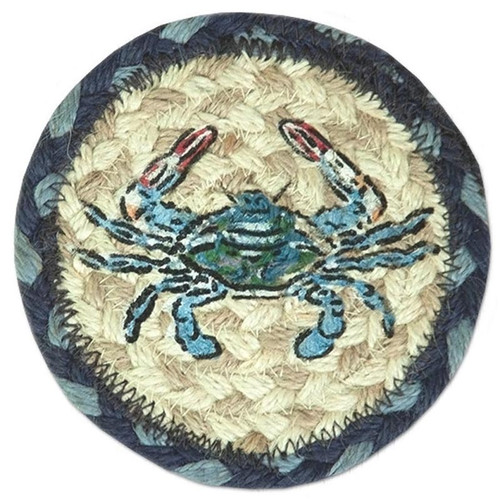 """Blue Crab Coaster from Earth Rugs - SET OF FOUR - 5"""" - IC-359"""