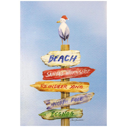 Beach Sign Christmas Cards 10 Box C74709