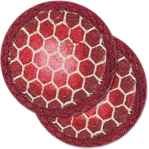 "Red Turtle Shell Table Trivet - SET OF TWO - 5"" - H-004-5"