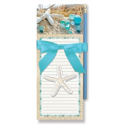 Sea Glass Shell Magnetic List Pad with Pencil - 91-437