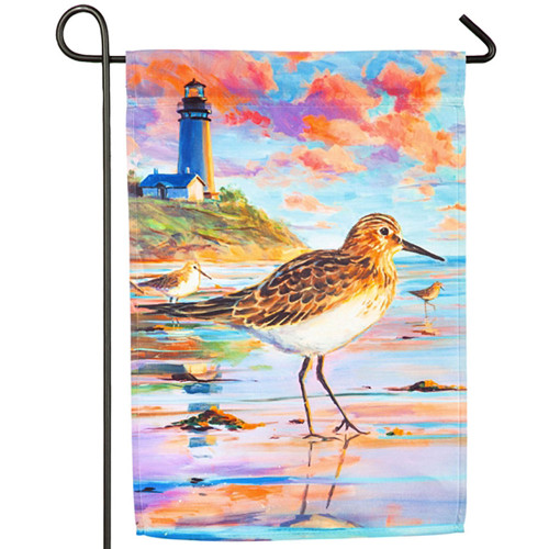 "Lighthouse Sandpiper Sunset Garden Satin Flag -12""x 18""-14A4478"
