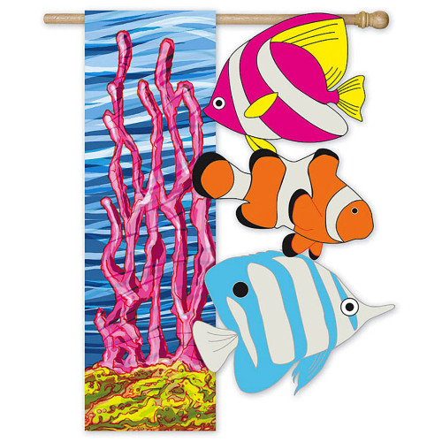 "Under the Sea Sculpted Artistic Blend Suede Garden Flag -12""x 18""- 161285"