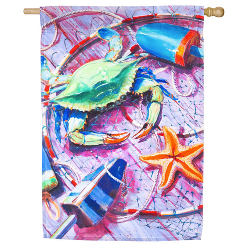 "Summer Catch Satin House Flag- 29""x 43""- 13A4477"