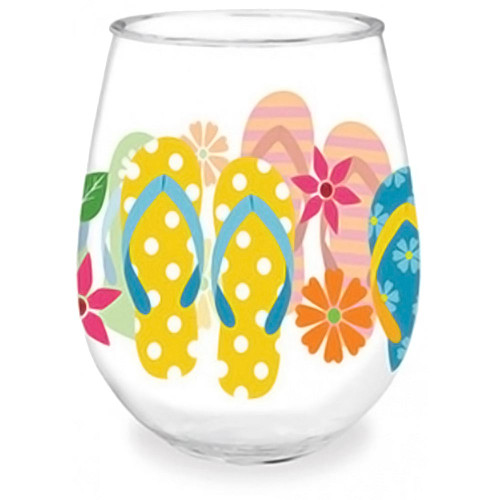 Colorful Flip Flop Shatterproof Stemless Wine Glass - 727-01