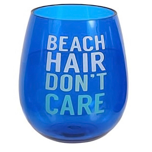 Beach Saying Blue Shatterproof Beach Hair Stemless Wine Glass - 20103B