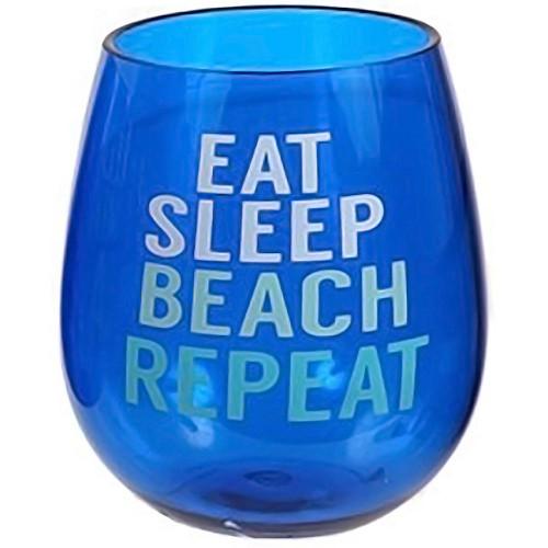 Beach Saying Blue Shatterproof Beach Eat Sleep Stemless Wine Glass - 20103E
