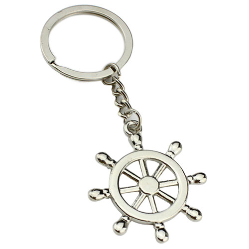 """Tone Silver Metal 1.5"""" Seaman Sailor Helm Key Chain"""