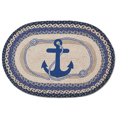 Blue Anchor 20x30 Hand Printed Oval Braided Floor Rug OP-443