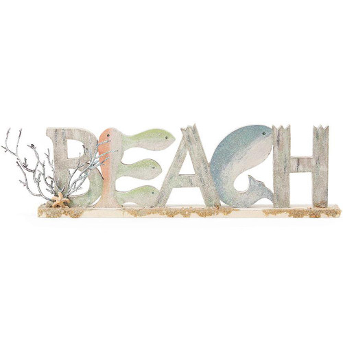 Wooden Sparkle Beach Whale Sign 4059702