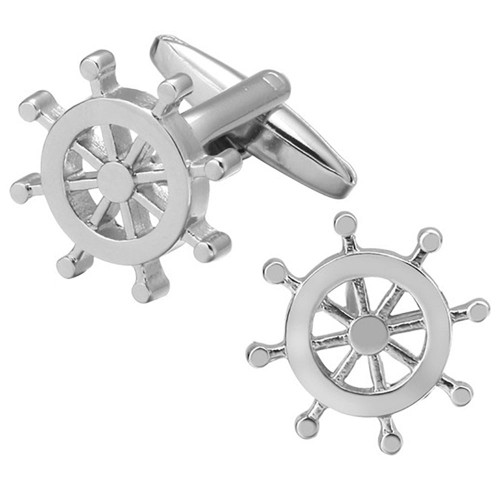 Sailor's Helm Cufflink - Silver Tone
