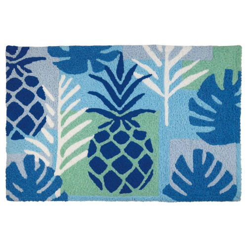 Blue Pineapple Palm Indoor Outdoor Washable Rug