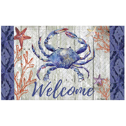 Welcome Blue Crab Embossed Floor Mat 41EM2314