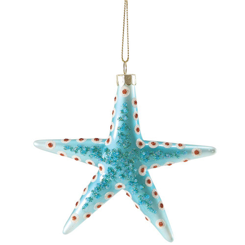 Sparkles Spotted Starfish Glass Ornament Blue
