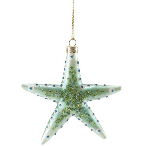 Sparkles Spotted Starfish Glass Ornament Aqua