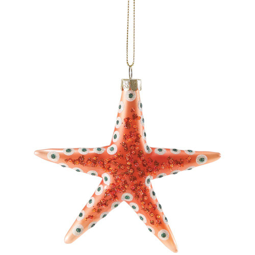 Sparkles Spotted Starfish Glass Ornament Coral