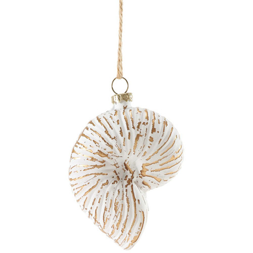 White Shell Glass Ornament - Colorful Moon Snail Shell