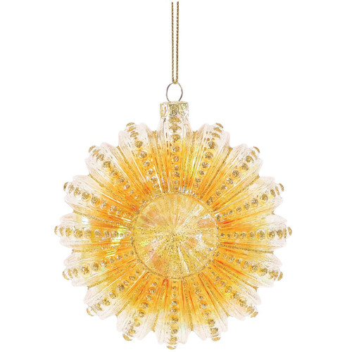 Glitter Spotted Sea Urchin Glass Ornament Orange 4057764A