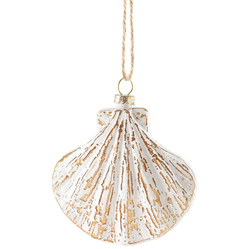 White Shell Glass Ornament - Scallop Shell - 4055037M