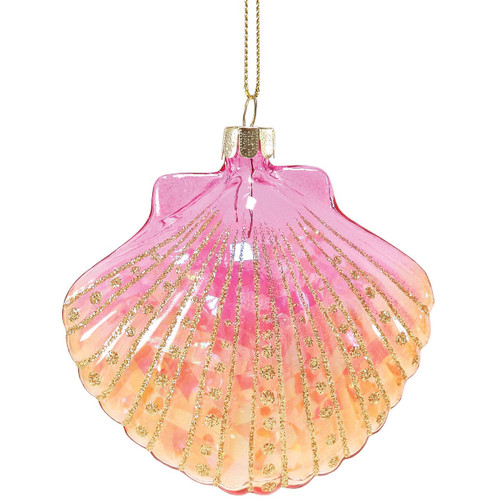 Glitter Bright Scallop Shell Glass Ornament Pink