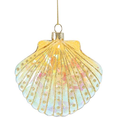 Glitter Bright Scallop Shell Glass Ornament Yellow