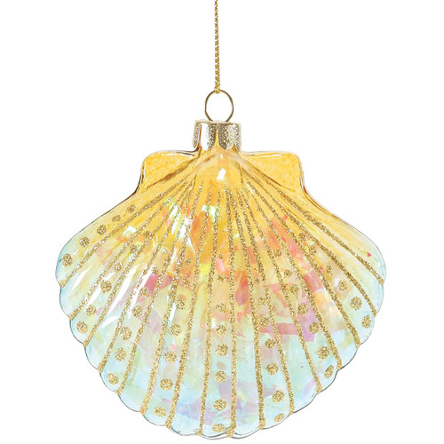 Glitter Bright Scallop Shell Glass Ornament Yellow