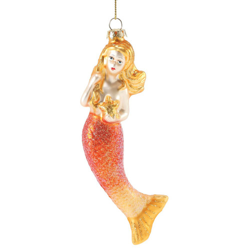Glitter Mermaid with Starfish Glass Ornament Orange