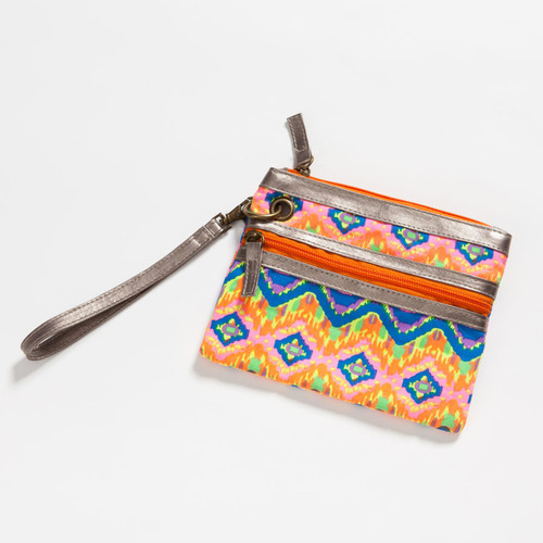 Colorful Pink Wristlet Zipper Pouch