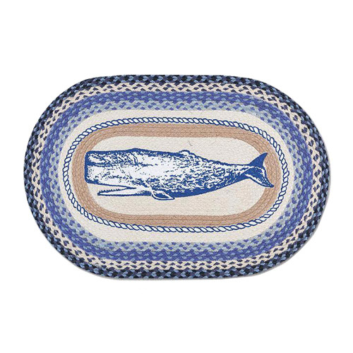 "20""x30"" Hand Stenciled Oval Patch Whale Braided Rug OP-443-WH"