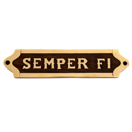 Wood and Brass Semper Fi Plaque H-1868