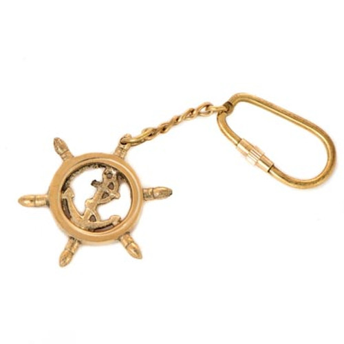 SHIP WHEEL ANCHOR KEY RING K-1862