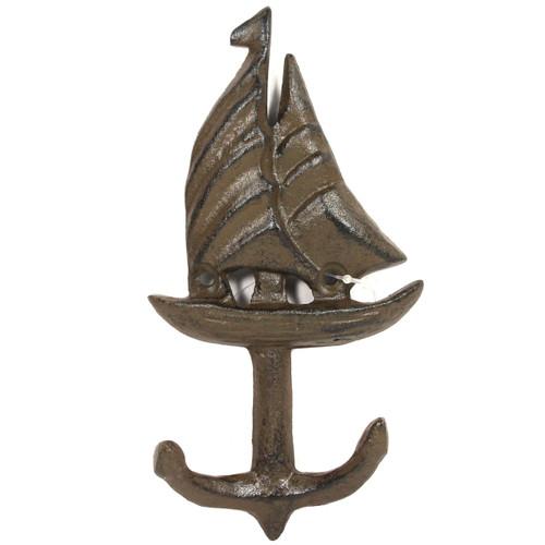 Sailboat and Anchor - 6 Inch Tall - Coat Hanger - H-4622
