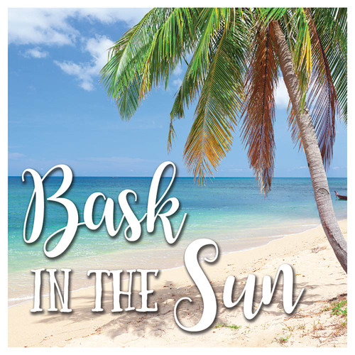 "Palm Tree Beach ""Bask in the Sun"" Single Absorbent Coaster - SB73371"
