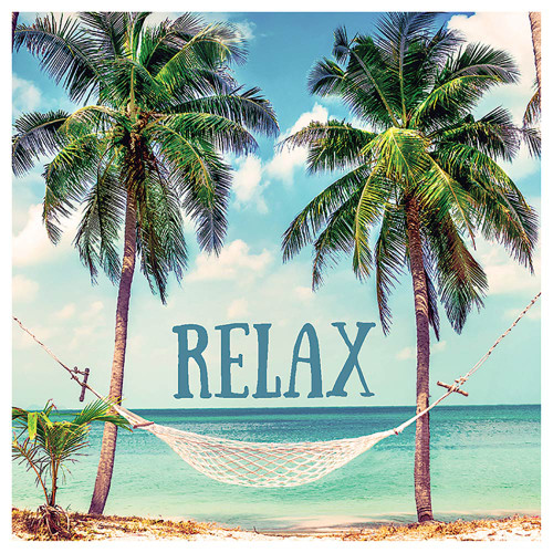 "Palm Tree Hammock ""Relax"" Single Absorbent Coaster"
