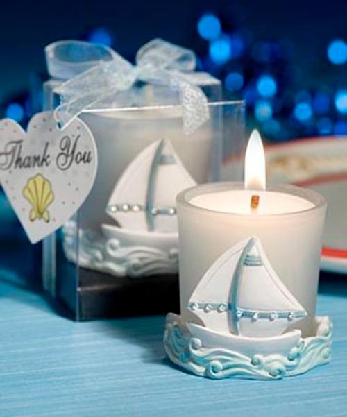 Sailboat Votive Candleholder for Tea Light Candle Q-3970