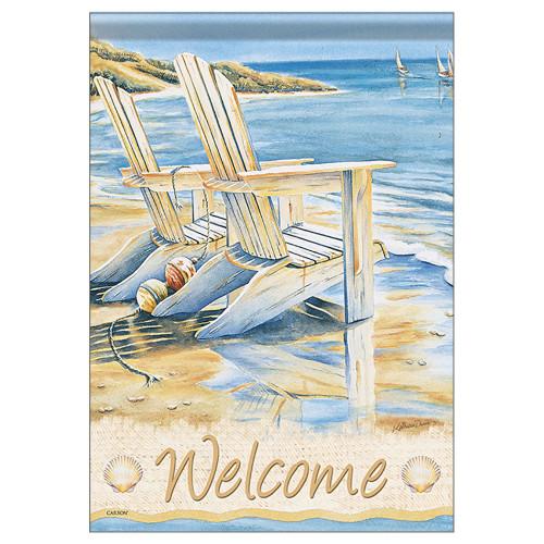 "Seaside Beach Chairs Welcome Garden Flag - 12""x 18"" - 46152"