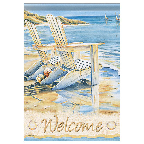 "Seaside Beach Chairs Welcome Garden Flag - 12""x 18"" - 46152"