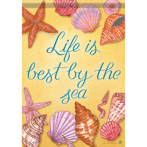 "Life by the Sea - Sea Shell Themed House Flag - 40"" x 28"" - 48935"
