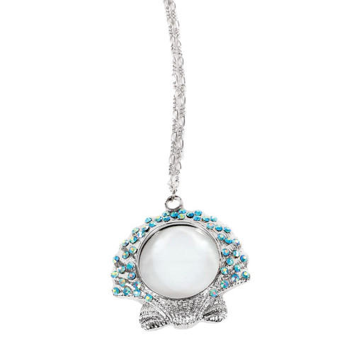 Scallop Sea Shell Magnifying Pendant Necklace