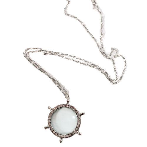 Ship Wheel Magnifying Pendant Necklace