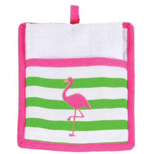Flamingo Pot Holder with White Towel Gift Set - 60586B