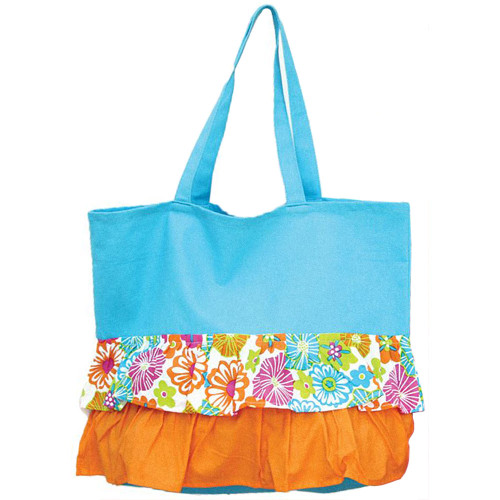 Blue Ruffle Hibiscus Pattern Cotton Canvas Tote Bag 60560A