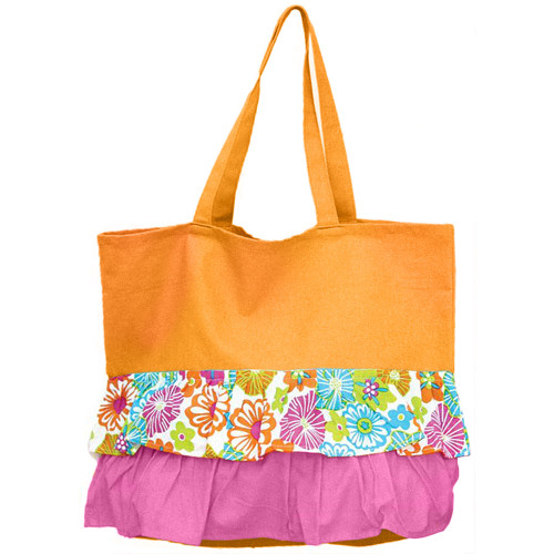 Orange Ruffle Hibiscus Pattern Cotton Canvas Tote Bag