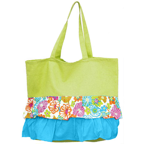 Green Ruffle Hibiscus Pattern Cotton Canvas Tote Bag 60560C
